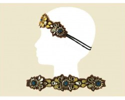 Brown Stone Flower Patterns Stretch Headband