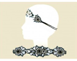Clear Stone Flower Patterns Stretch Headband