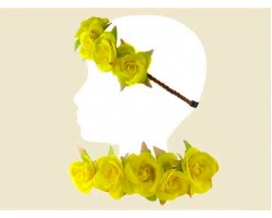 Yellow Rose 6 Silk Flower Stretch Headband