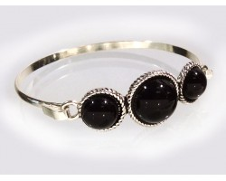 Black 3 Domed Dyed Silver Hook Cuff Bracelet