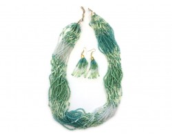 Mint Green Shades Strands Seed Bead Necklace Set