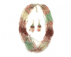 Mint Green Coral Shades Strands Seed Bead Necklace Set