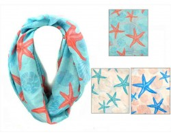 Assorted Colors Shells Starfish Infinity Scarf 6pk