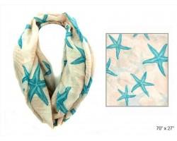 Beige Shells Starfish Infinity Scarf