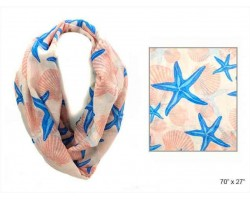 Peach Shells Starfish Infinity Scarf
