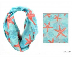 Turquoise Shells Starfish Infinity Scarf