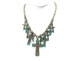 Patina Green Multi Cross Chain Necklace Set