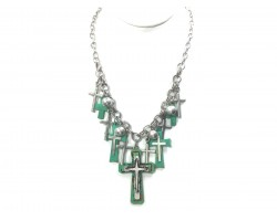 Silver Green Multi Cross Chain Necklace Set