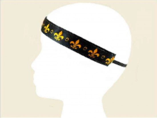Black Band Gold Fleur de Lis Stretch Headband