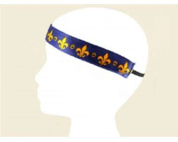 Purple Band Gold Fleur de Lis Stretch Headband
