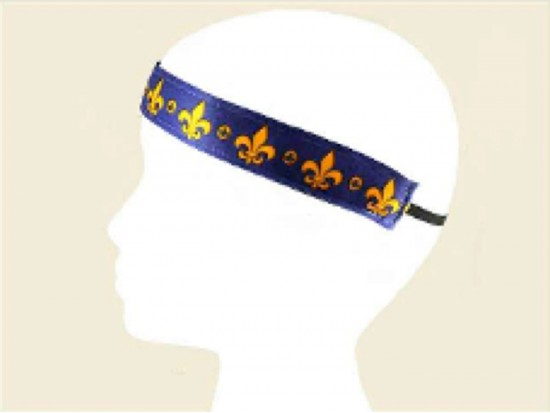 Purple Band Gold Fleur de Lis Stretch Headband