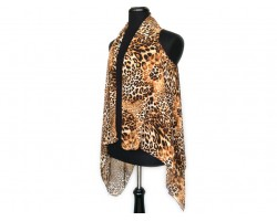 Leopard Sleeveless Long Tailed Cardigan