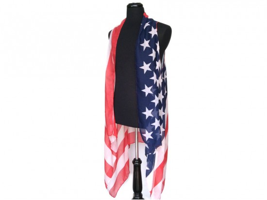 USA Flag Bright Sleeveless Long Tailed Cardigan