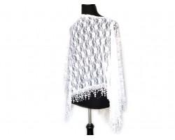White Floral Open Cut Lace Poncho Crochet Fringe