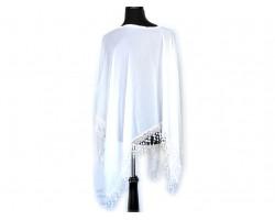 White Lace Trim Poncho