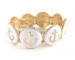 White Anchor Round Gold Stretch Bracelet