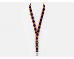 Blue Orange Plaid Cloth ID Lanyard