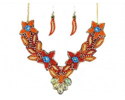 Coral Seed Bead Flowers Crystal Collar Necklace Set