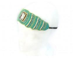 Mint Green Seed Bead Crystal Stretch Headband