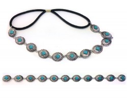 Turquoise Silver Oval Conchos Stretch Hatband