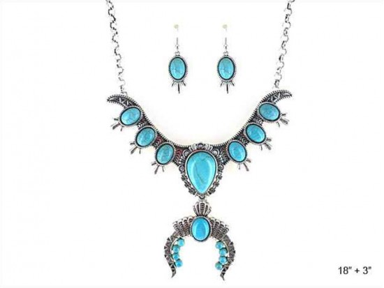 Turquoise Teardrops Squash Blossom Necklace Set