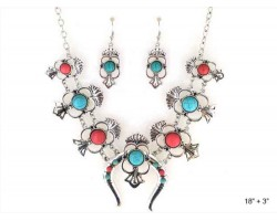 Coral Turquoise Round Stone Squash Blossom Necklace Set