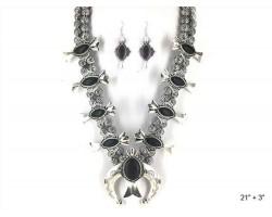 Black Squash Blossom Horn Necklace Set