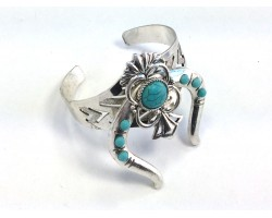 Turquoise Stone Squash Blossom Silver Cuff Bracelet