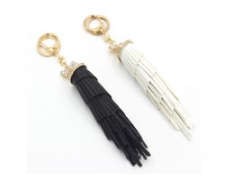 Leather Tassel Gold Key Chain 2pk