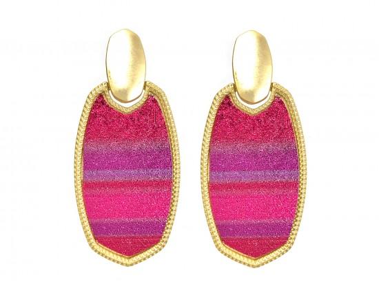 Fuchsia Multi Stripe Glitter Texture Oval Post Earrings