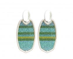 Blue Multi Stripe Glitter Texture Oval Post Earrings