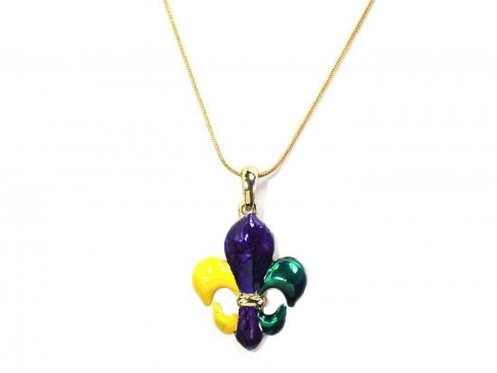 Mardi Gras Fleur De Lis Pendant Chain Necklace