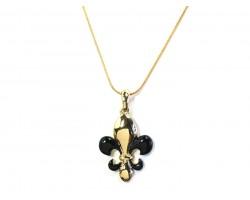 Black Gold Fleur De Lis Pendant Chain Necklace