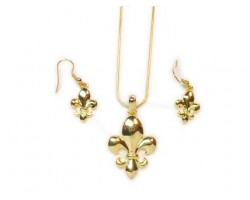 Gold Fleur De Lis Pendant Chain Necklace Set