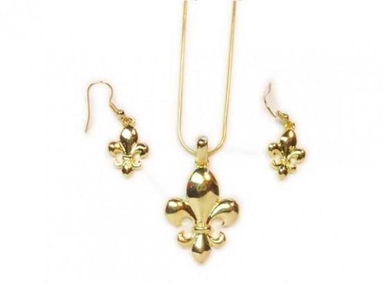 Gold Fleur De Lis Pendant Chain Necklace Set