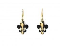Black Gold Fleur De Lis Hook Earrings