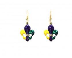 Mardi Gras Fleur De Lis Hook Earrings