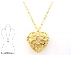 Gold Fleur De Lis Heart Locket Pendant Necklace