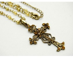 Green Crystal Cross Chain Necklace