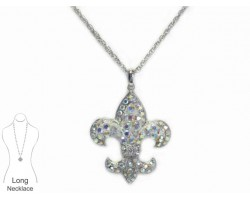 Crystal AB Crystal Fleur De Lis Necklace
