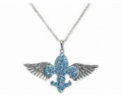 Aqua Crystal Winged Fleur De Lis Necklace