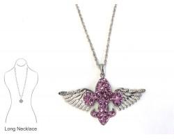 Light Purple Crystal Winged Fleur De Lis Necklace