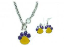 Purple & Yellow Enamel Paw Print Pendant Necklace Set