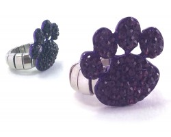 Purple Crystal Paw Print Stretch Ring