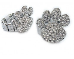 Clear Crystal Paw Print Silver Stretch Ring