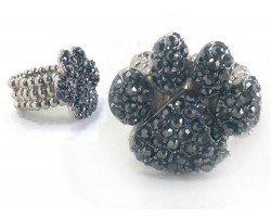 Hematite Crystal Paw Print Stretch Ring
