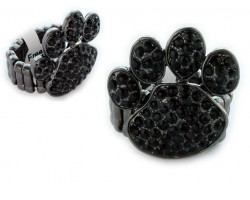 Black Crystal Paw Print Gun Metal Stretch Ring