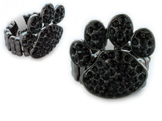 Black Crystal Paw Print Gun Metal Stretch Ring