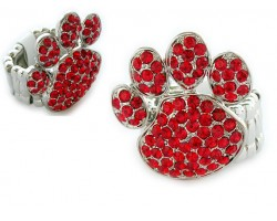 Red Siam Crystal Paw Print Silver Stretch Ring