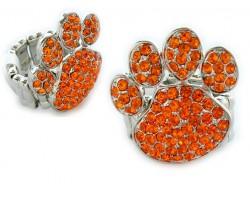 Orange Crystal Paw Print Silver Stretch Ring